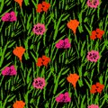 Grunge Pattern With Small Hand Drawn Flowers. Royalty Free Stock Images - 38137469
