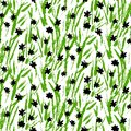 Grunge Pattern With Small Hand Drawn Flowers. Royalty Free Stock Images - 38137569