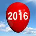 Two Thousand Sixteen On Balloon Shows Year 2016 Royalty Free Stock Photography - 38148727
