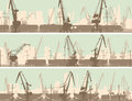 Vector Banners Of  Industrial City With Cargo Crane Tower. Stock Image - 38152721