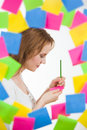 Lovely Woman Writing Surrounded By Stock Photo - 38171070