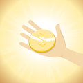 Dollar Coin In Hand Stock Image - 38179491