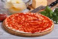 Pizza Ingredients: Base, Tomato Sauce, Herbs, Pineapple, Cheese Stock Photography - 38182442