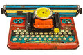 Colorful Vintage Toy Typewriter Isolated On White Royalty Free Stock Images - 38189489