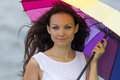 Portrait Of Brunette With Umbrella Stock Photography - 38205412