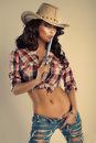 Beautiful Brunette Cowgirl. Royalty Free Stock Photos - 38210308