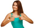Woman Girl Shows Positive Sign Thumbs Yes Royalty Free Stock Image - 38263946