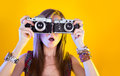 Portrait Of Funny Girl With Two Cameras Stock Image - 38281951