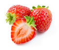 Strawberry. Three Berries With A Half Isolated On White Royalty Free Stock Photos - 38285618