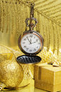 New Year Time On Golden Clock Royalty Free Stock Photography - 3839257