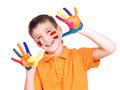 Happy Smiling Boy With A Painted Hands And Face. Royalty Free Stock Image - 38300876