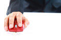 Hand Using Red Mouse Computer Royalty Free Stock Image - 38303056