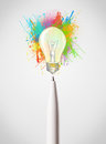 Pen Close-up With Colored Paint Splashes And Lightbulb Stock Photography - 38305052