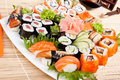 Large Sushi Place On A White Square Plate Royalty Free Stock Photos - 38320408