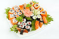 Large Sushi Place On A White Square Plate Stock Photos - 38320423