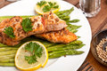 Salmon With Coriander Seeds And Asparagus Stock Image - 38320441