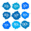 Blue Discount Labels, Stains, Splashes Stock Photo - 38338880