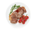 Sirloin Steak With Rosemary And Cherry Tomatoes On A Plate Royalty Free Stock Photos - 38358328