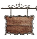 Medieval Wooden Sign Board Hanging On Chains Isolated Stock Image - 38373331