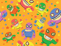 Mexican Wrestlers Seamless Pattern Royalty Free Stock Photography - 38374297