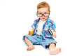 Child In Glasses With A Magnifying Glass Stock Photos - 38384263