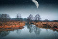 Mystical Landscape Of The Moon. Royalty Free Stock Image - 38391816