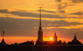 Sunset Over The Peter And Paul Fortress In St. Petersburg Royalty Free Stock Photos - 38408828