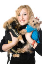 Portrait Of Smiling Pretty Blonde With Two Dogs. Isolated Stock Photos - 38423473