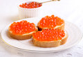 Red Caviar On Bread Stock Photography - 38423482