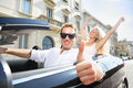 Car Driver Happy Giving Thumbs Up - Driving Couple Royalty Free Stock Image - 38438156