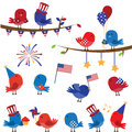 Cute Vector Set Of Patriotic Or Fourth Of July Themed Birds Royalty Free Stock Images - 38440429