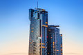 Skyscraper Sea Towers At Sunset In Gdynia Stock Photos - 38465063