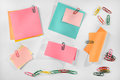 Multiple Blank Colorful Paper Notes And Colorful Paper Clips On White Background. Stock Image - 38479121