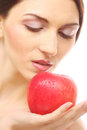 Brunette Woman With Red Apple Royalty Free Stock Photos - 38481858