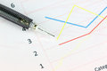 Mechanical Pencil Point To Point On Line Graphs. Stock Images - 38514744