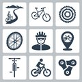 Vector Bicycling, Cycling Icons Set Royalty Free Stock Photography - 38523557