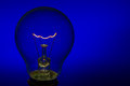 Glass Light Bulb With Burning Filament Upright With Blue Backgro Royalty Free Stock Images - 38526779