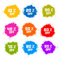 Colorful Discount Labels, Stains, Splashes Royalty Free Stock Image - 38535696