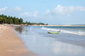 Beach With Boat At Low Tide, Pititinga, Natal (Brazil) Stock Image - 38538851