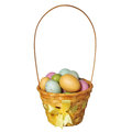 Easter Basket With Colorful Eggs Isolated Royalty Free Stock Images - 38543879