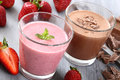 Strawberry And Chocolate Smoothie Royalty Free Stock Photos - 38555248