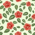 Vintage Seamless Pattern Roses (red With Green).  EPS,JPG. Royalty Free Stock Photography - 38556097