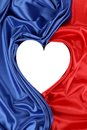 White Heart Of Red And Blue Silk Royalty Free Stock Image - 38559906