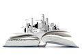 Open Book On The Table With City Sketch Stock Image - 38566121