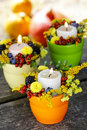 Candle Holder Decorated With Autumn Flowers Stock Photography - 38587422