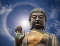 The Statue Of Big Buddha Face With Hand In Hongkong Royalty Free Stock Photography - 38587937