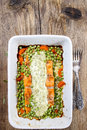 Top View Of Roasted Salmon With Dill Sauce Royalty Free Stock Images - 38588799
