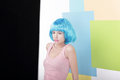 Funny Girl In Fancy Blue Wig And Pink Singlet Royalty Free Stock Image - 38599896