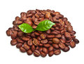 Black Coffee Beans, Grain With Leaf Royalty Free Stock Photos - 38605568