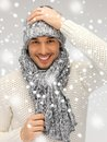 Handsome Man In Warm Sweater, Hat And Scarf Stock Images - 38618984